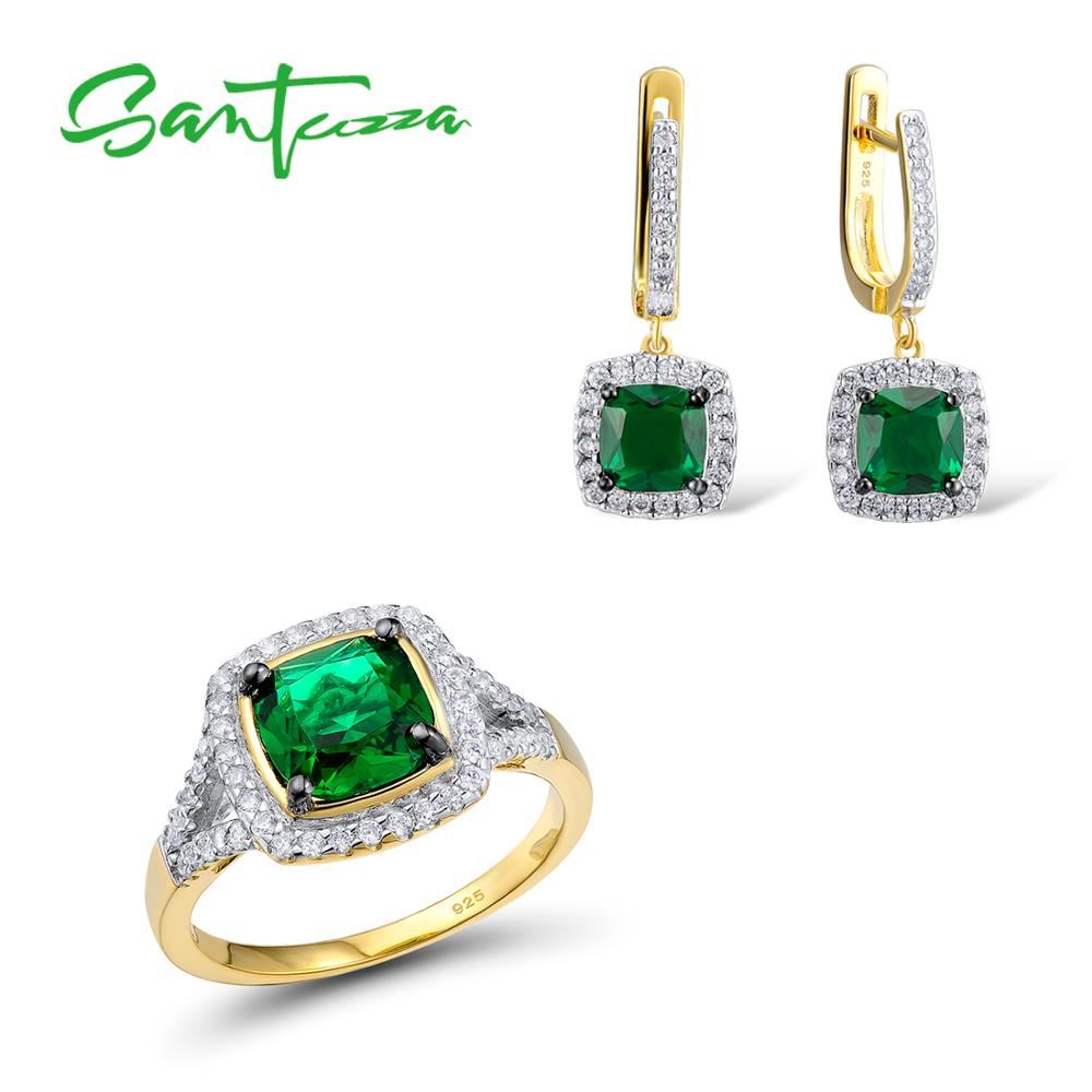 SANTUZZA Jewelry Set Women Green CZ Stones Jewelry Set  Earrings Ring Set Jewelry 925 Sterling Silver Fashion Jewelry SetsSANTUZZA Jewelry Set Women Green CZ Stones Jewelry Set  Earrings Ring Set Jewelry 925 Sterling Silver Fashion Jewelry Sets