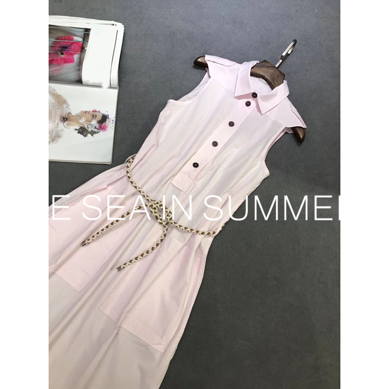 2019 zomer designer Eenvoudige temperament hoge kwaliteit slanke overhemd katoen mouwloze jurk Casual shirt jurk jurk lange jurk-in Jurken van Dames Kleding op  Groep 3