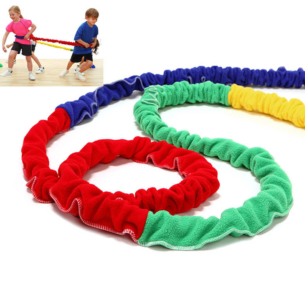 Cooperatiive Stretchy Band Running Rally Children 39 s Elastic Rainbow Rope Physical Training Equipment Stress Reliever Tool J71 in Toy Sports from Toys amp Hobbies