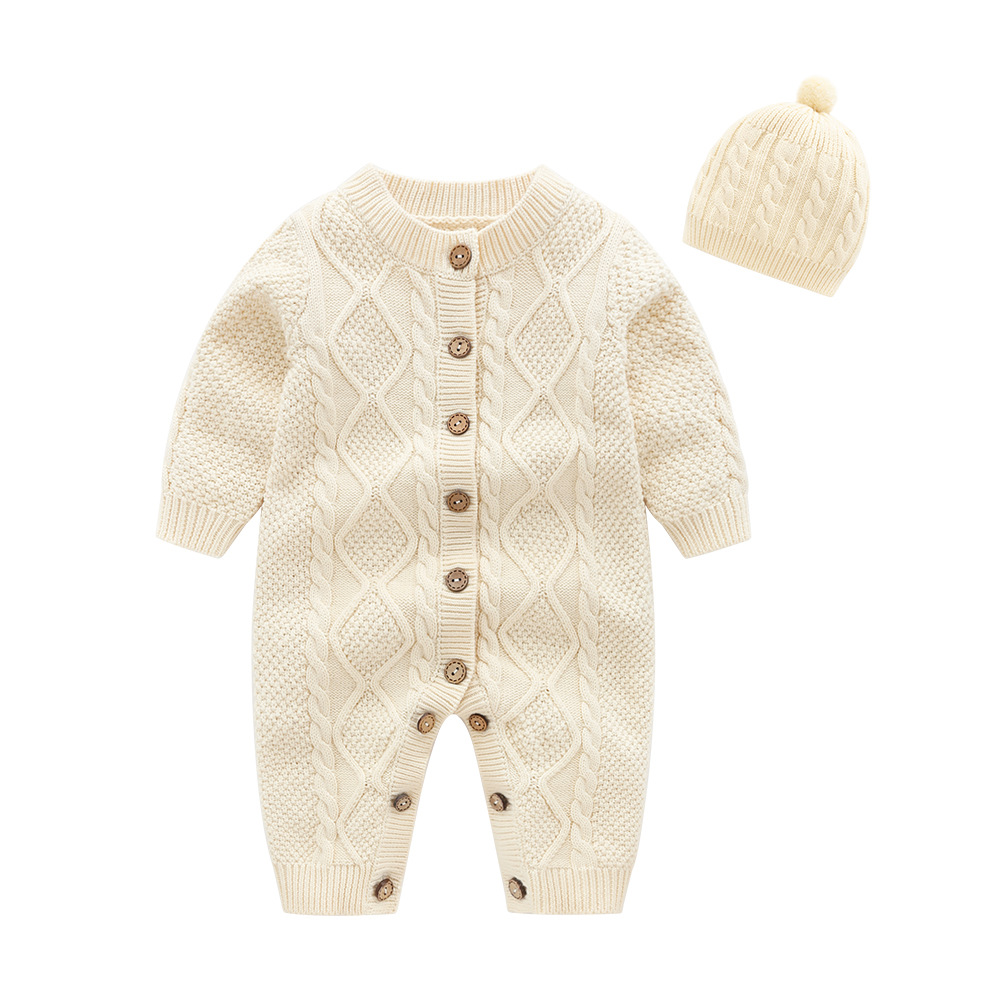 Baby   Rompers   White Cable Knit Newborn Boys Jumpsuits Outfits Autumn Long Sleeves Infant Girls Overalls Winter Warm Children Wear