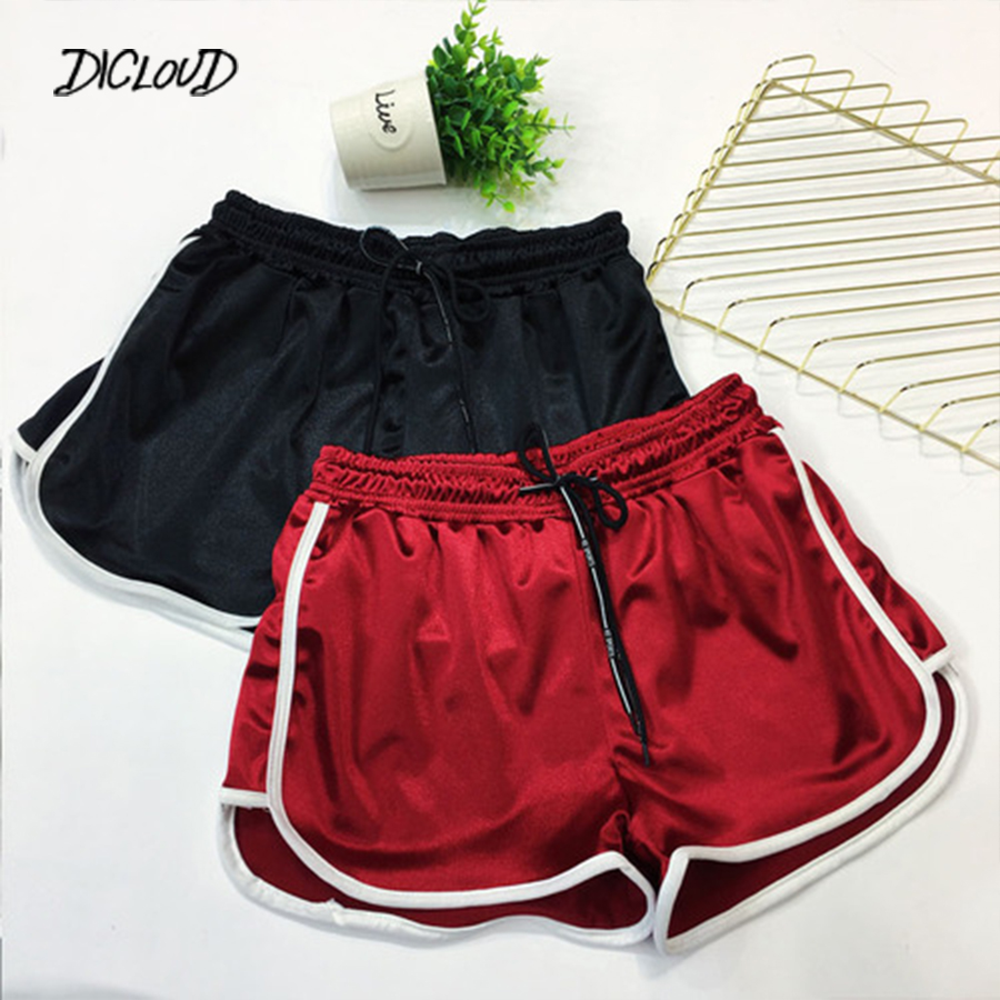 Satin High Waist Casual   Shorts   Women 2018 Patchwork Body Fitness Workout Summer   Shorts   Female Elastic Skinny   Short   Hot 5XL