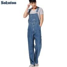 Sokotoo мужская плюс размер комбинезоны Большой размер огромные джинсовой нагрудник брюки Мода карманные комбинезоны Мужской Бесплатная доставка