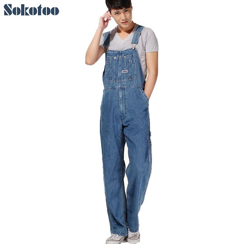 Sokotoo Men's plus size overalls Large size huge denim bib pants Fashion pocket jumpsuits Male Free shipping