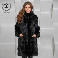 2018 New Arrival Long Real Mink Fur Coat Stand Collar Natural Women Fur Coat Mink Jacket Genuine Outwear Winter Fashion MKW 021