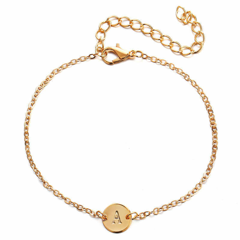Engraved Personalized Initial Letter Bracelets for Women Gold Color Hand Stamped A-Z Initial Disc Name Bracelet Name Jewelry