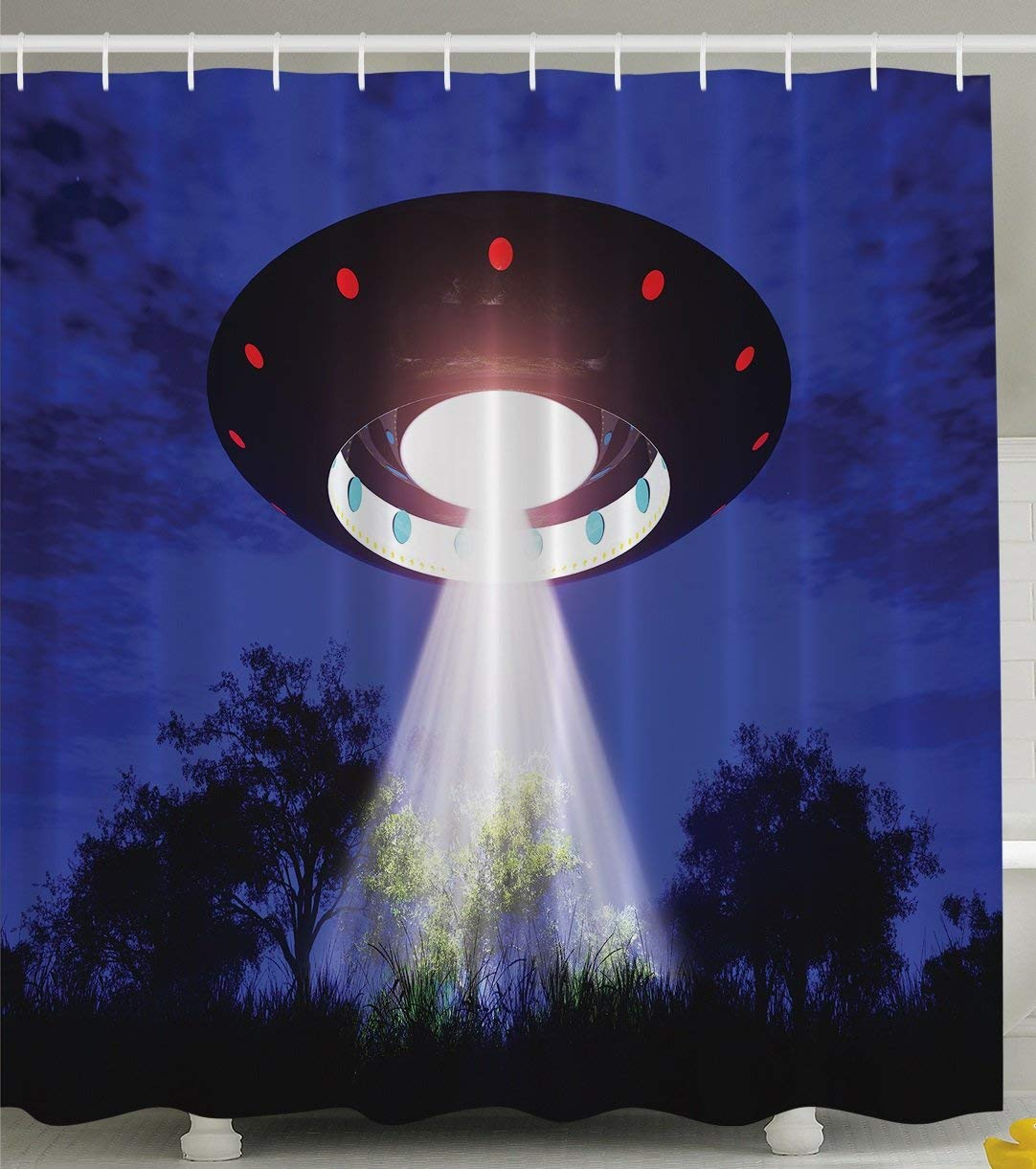 Shower curtain jupiter neighbors outer space ufo aliens for Outer space decor