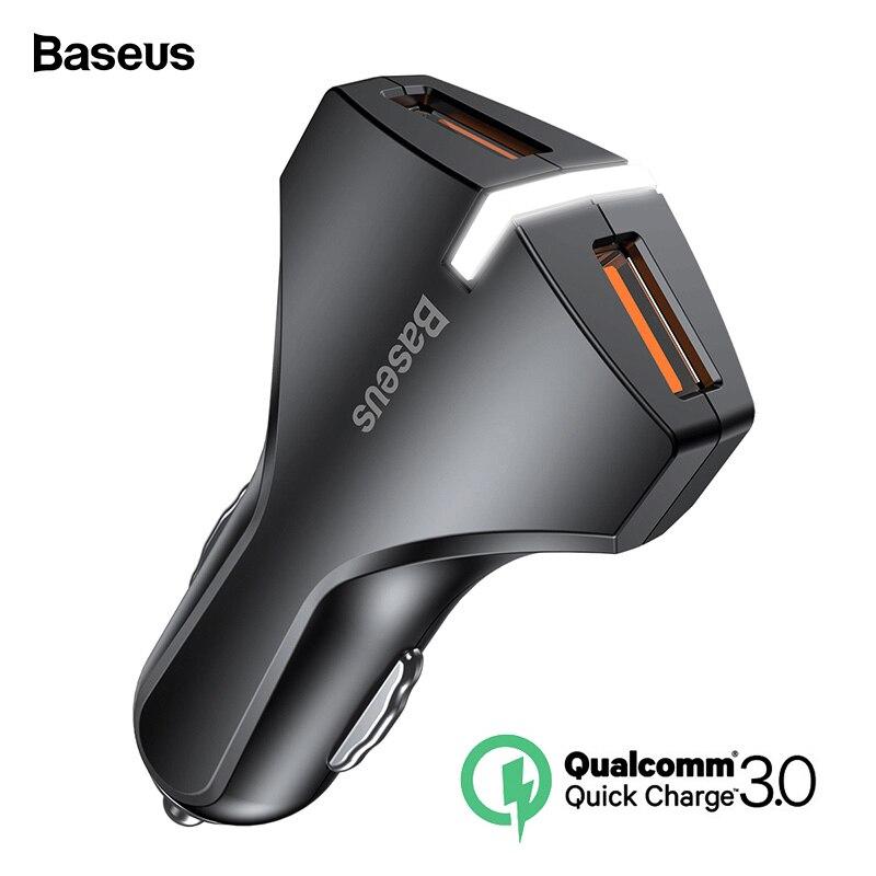 Baseus carga rápida 3,0 cargador de coche USB Dual 5V3A Turbo coche rápido de carga de cargador de teléfono móvil para iPhone Xiaomi Coche adaptador