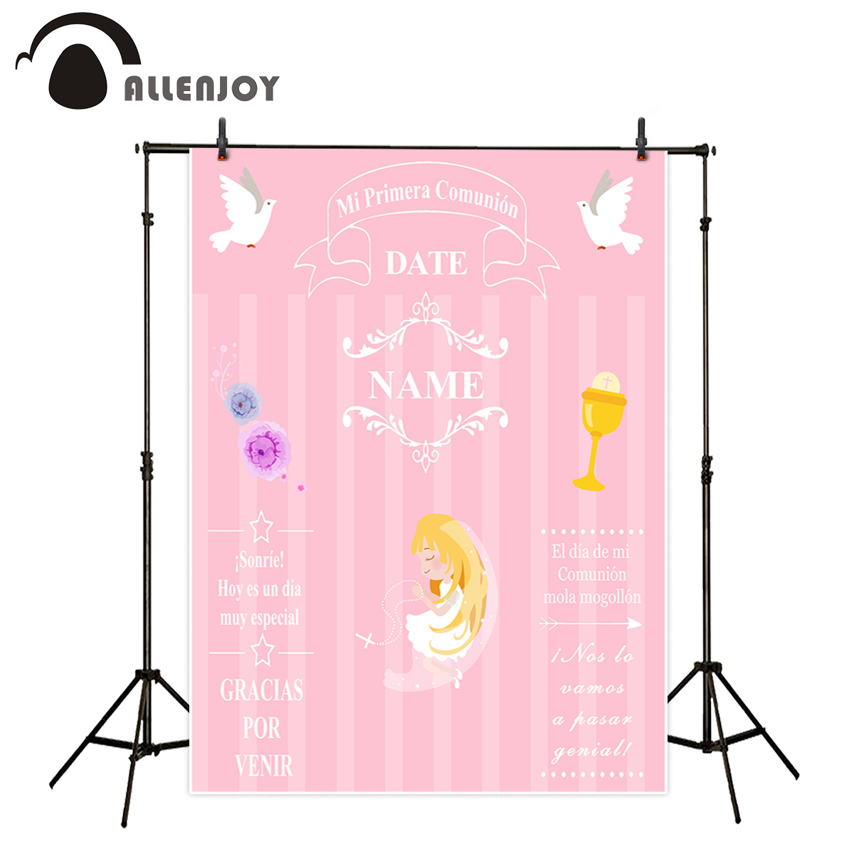 Allenjoy backdrop for photography studio pink little girl My first holy communion customize background original design photocall allenjoy photography backdrop library books student child newborn photo studio photocall background original design