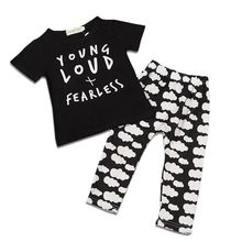 Fashion 2016 Baby Set Printed Baby Girl Clothes Kids Clothing Set Boy Pants T shirt For