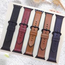 Apple Watch Band 44mm 42mm 40MM 38MM,Crazy Horse Leather Replacement Strap Apple Watch Bracelet For iWatch Band Series 4 3 2 1 цена и фото