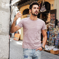 SIMWOOD 2017 Summer New T Shirts Men Solid Pocket 100 Pure Cotton Slim Fit Vintage Tees