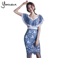 Yanueun Korea Fashion 2017 Women Dress Summer Striped Bodycon Dresses Short Sleeve Brief Womens Slim Mini