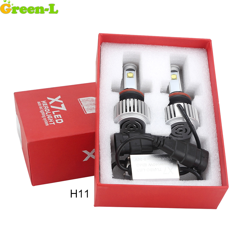 Green-L 12V 24V H11 Auto Car Led Headlight Kit 6000K 5500lm all in one Conversion Kit Lamp Replace Halogen Xenon Driving Light