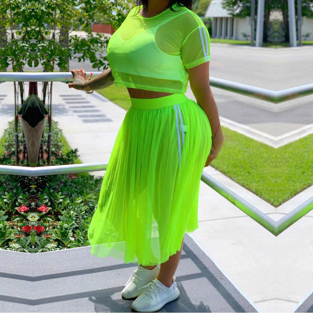 ANJAMANOR ストライプメッシュセクシーな 2 ピーススカートセットプラスサイズの女性のツーピースの衣装カジュアルマッチングセットネオングリーンピンク d41-AD35