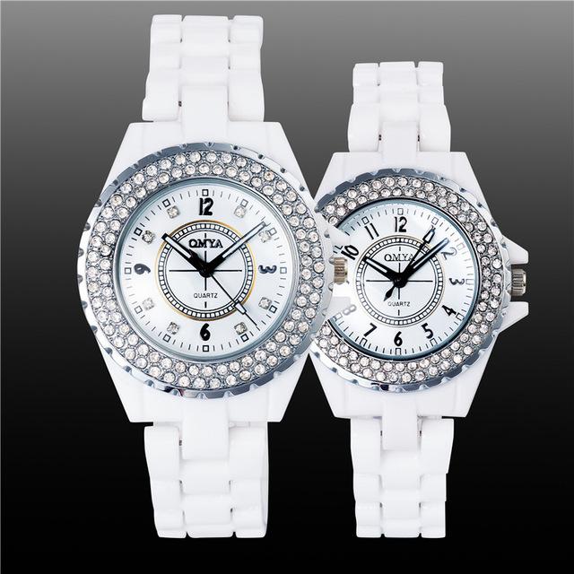 Luxo Bonito Strass Cristal Branco de Cerâmica Japonesa Movt de Quartzo relógios de Pulso Relógio de Pulso para Mulheres Homens Casal