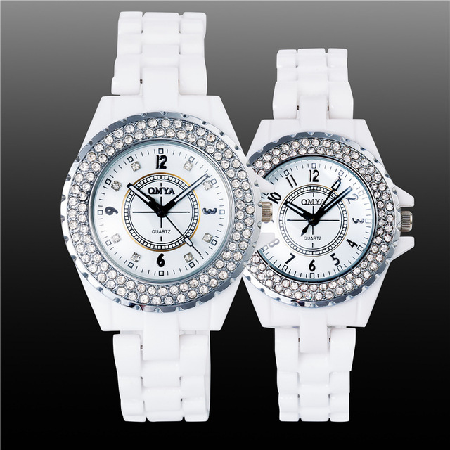 Luxury Pretty White Crystal Rhinestone Ceramic Japanese Movt Quartz Wristwatches Wrist Watch for Women Men Couple