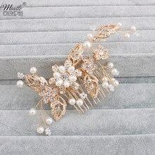 Miallo Flower Crystal Hair Combs Pearl Jewelry Rhinestones Bridal Tiara Wedding Hair Accessories Hairpins Headwear Headpieces
