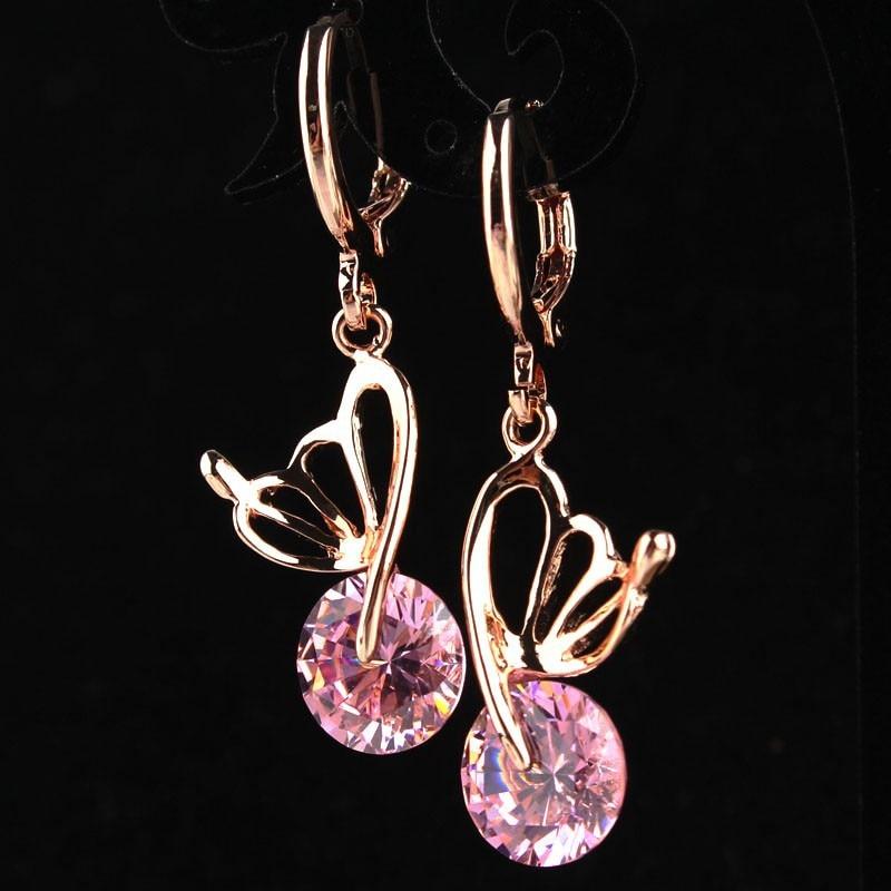 Trendy Roze Cz Crystal Drop Oorbellen Voor Vrouwen Bruiloft Sieraden Valentijnsdag Gift Rose Goud Kleur Vlinder Oorbellen