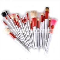 20 pçs/set Cosméticos Facial Make up Brush Kit Maquiagem Ferramentas de Nylon Escovas de cabelo com Rosa Roll up Couro PU Saco Livre grátis