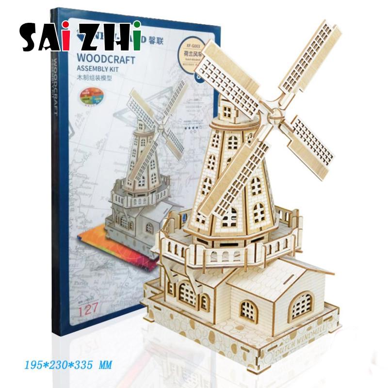 Saizhi bricolage paires en bois Chalets 3D jeu de Puzzle cadeau pour enfants Kits de construction modèle jouet populaire Puzzle Chalet jouets Puzzles