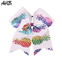 AHB 7 Cheer Bows for Girls Large Hair with Elastic Rubber Band Black Rope Colorful Printed Ribbons Headwear