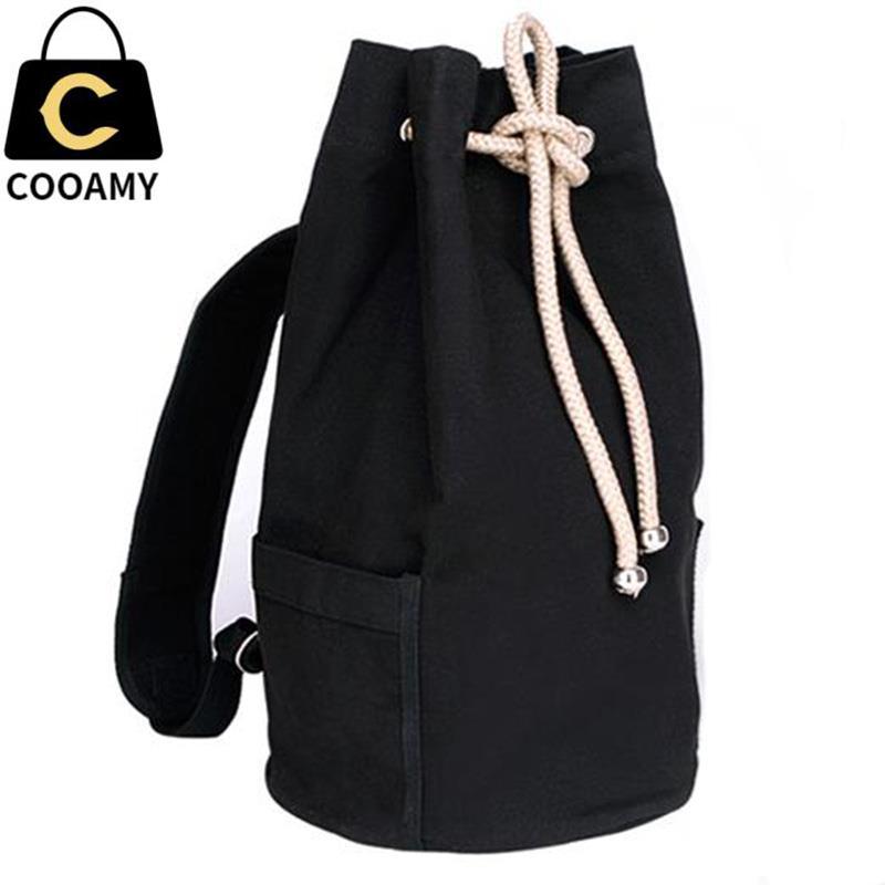Men's Canvas Backpack New Large Capacity Men Drawstring Bagpack Bucket Unisex Fashionable Concise Shoulder Bag Male Schoolbag