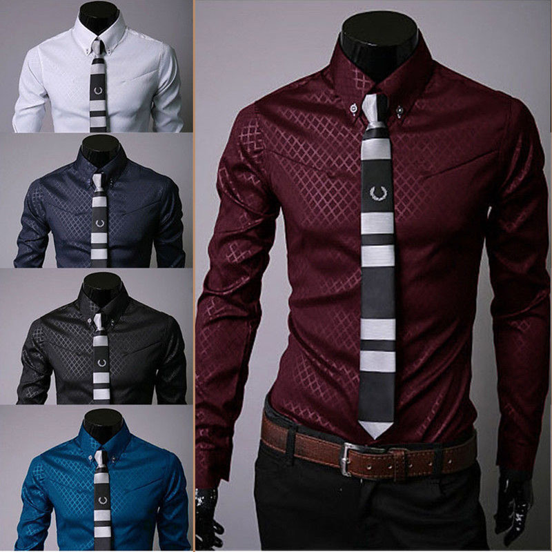 Fashion Men  Luxury Casual Shirts Slim Fit Dress Shirts Long Sleeve Button Tops