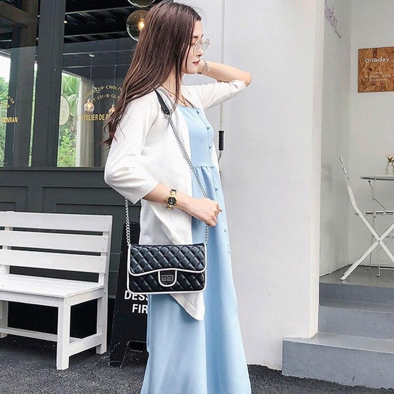 Sacs bandoulière pour femmes 2019 mode dames style coréen rabat pastille sac à bandoulière en cuir noir blanc Messenger sacs pour filles