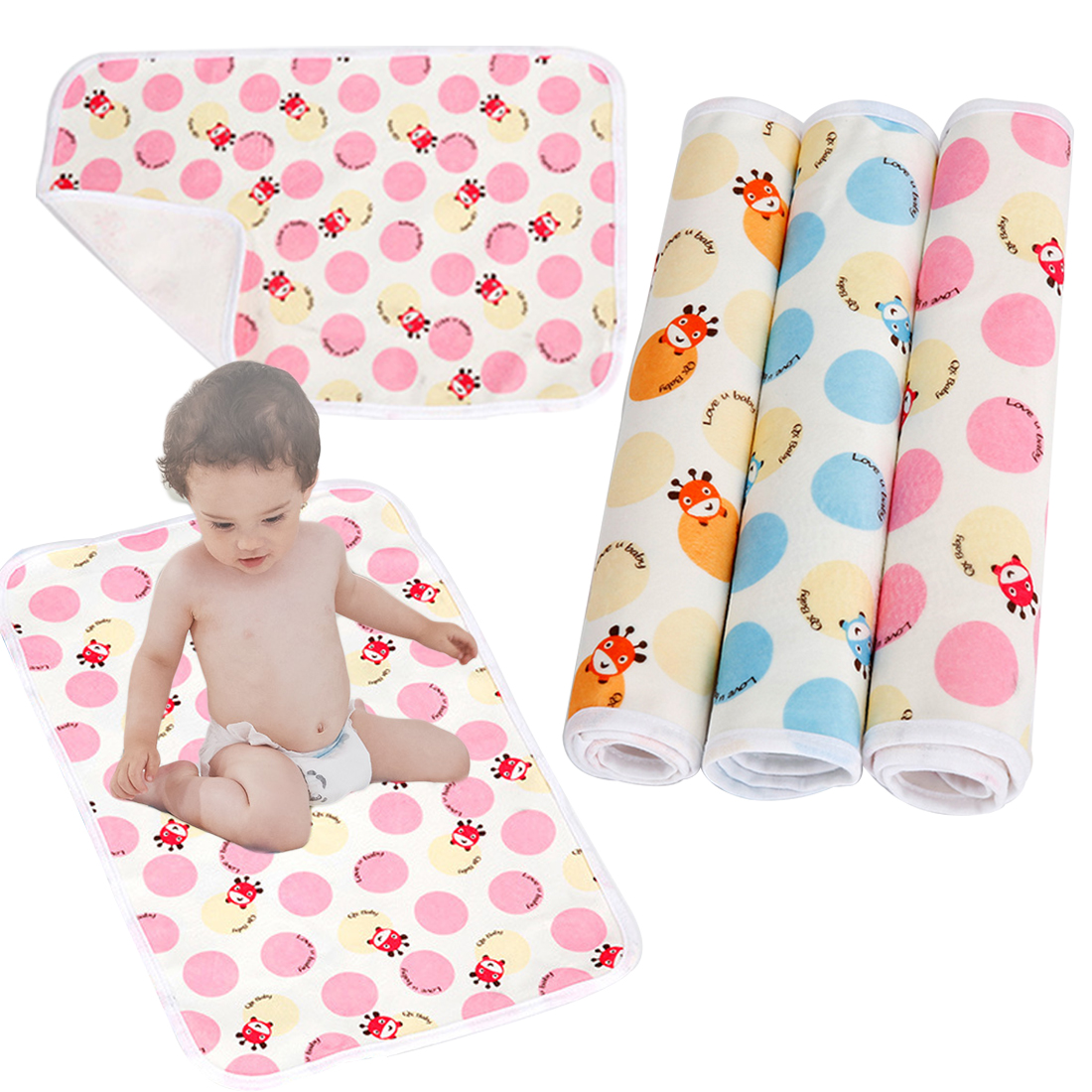 Baby Cushion Reusable Diaper Changing mat Infants Portable Foldable Washable Waterproof Mattress Cartoon Changing Pad Floor
