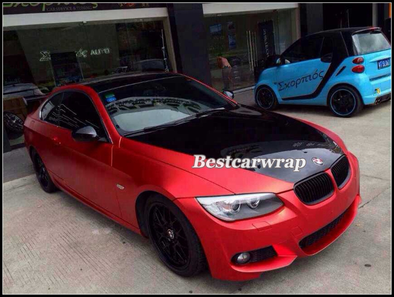 Satin Red Chrome Matt Vinyl Wrap Film For Car Wrapping With Air