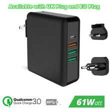 """61 W פ""""ד סוג C USB מהיר מטען QC 3.0 מהיר מטען עבור Macbook סמסונג A50 A30 iPhone מחשב נייד Tablet עם ארה""""ב האיחוד האירופי בבריטניה תקע מתאם"""