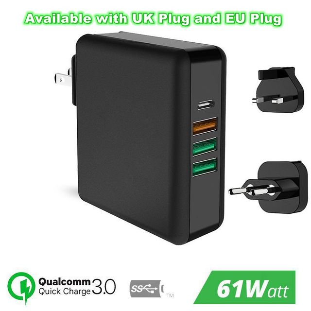 61W PD Type C USB Fast Charger QC 3.0 Quick Charger for Macbook Samsung A50 A30 iPhone Laptop Tablet With US EU UK Plug Adapter