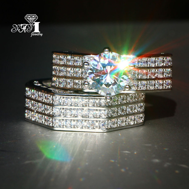 2 pcs YaYI Jewelry Fashion Princess Cut 4.7 CT White Zircon Silver Color Engagem