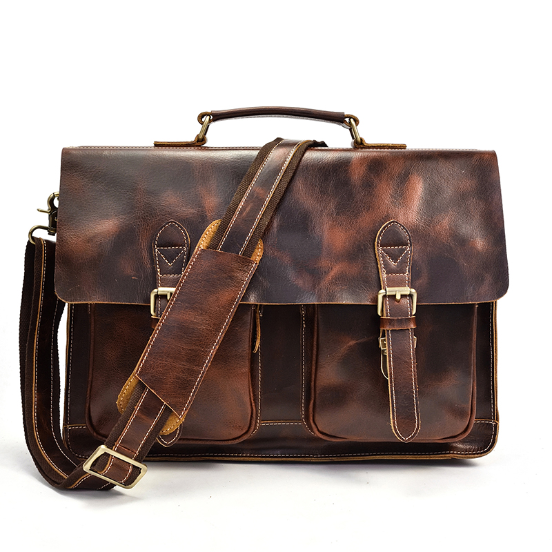 Genuine Leather Business Briefcase For Man Vintage Crazy Horse Leahter 15.6 inch Laptop Bag Male Shoulder Crossbody Bag Book Bag-in Briefcases from Luggage & Bags    1