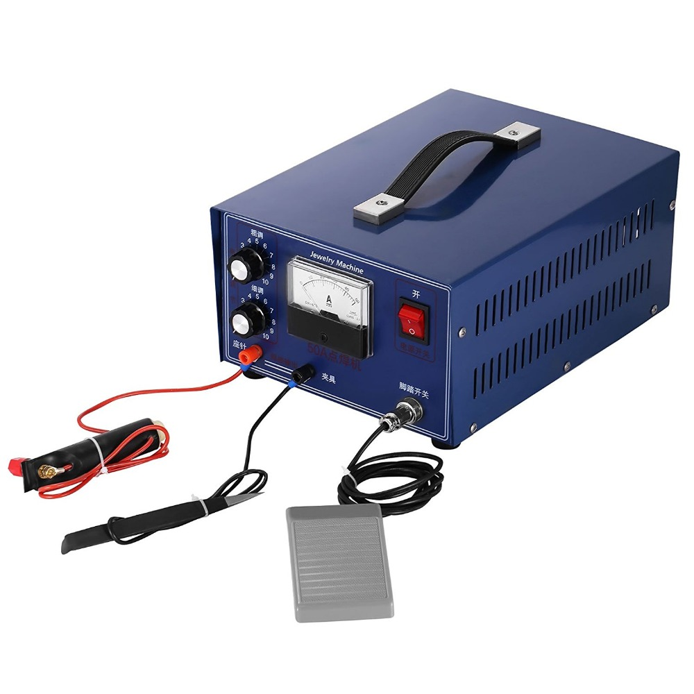 110V/50A Jewelry Spot Welding Machine 400W Pedal Spot Stick Welder Electric Soldering Accessories Tools for Jewelry Gold Silver free shipping new lmm welder machine welding foot pedal control current for tig mig plasma cutter cnc soldering iron
