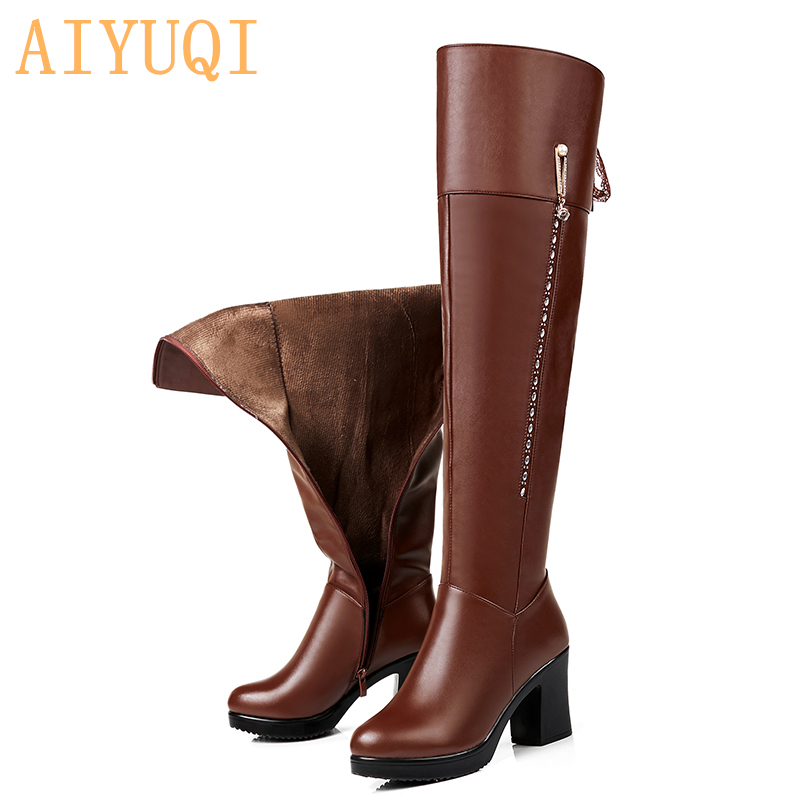 AIYUQI Female over the knee boots 2021 new genuine leather female motorcycle boots  high-heeled fashion winter boots shoes women