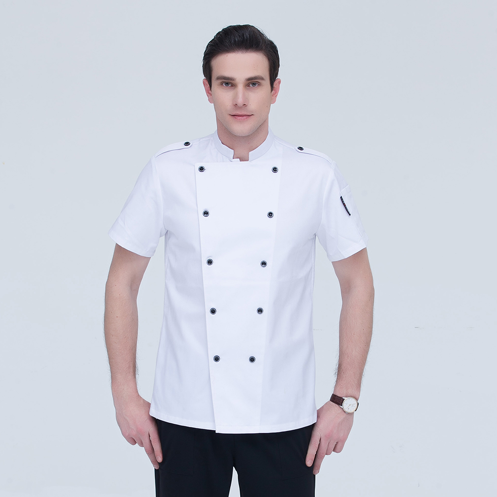Newly High Quality Double-breasted Summber Short-sleeved Chef Jacket Restaurant Hotel Kitchen Cook Suit Coat Work Overalls