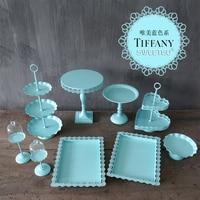 Dream Wedding Blue Colour System Cake Frame Group Combine Platform A Snack The Shelf European WROUGHT IRON Cake Disc Suit