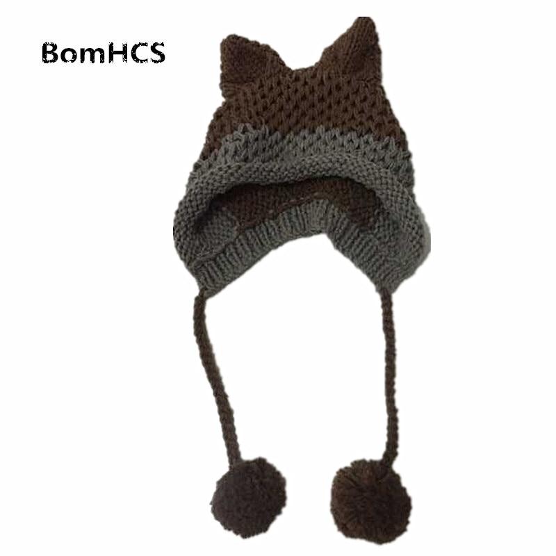 BomHCS Cute Fox Ears Beanie Winter Warm 100% Handmade Knit Hat чехол для карточек cute fox дк2017 115