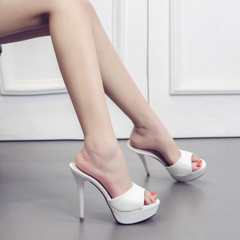 2018 Di Modo Di Estate Pistoni Freddi Delle Donne Super Sottile Di Alta Tacco 13 Centimetri Sandali Della Piattaforma Di Vestito Ufficio Pantofola Scarpe Da Donna Pigri Scarpe