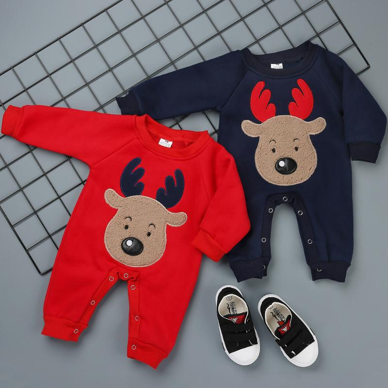 Для новорожденных Комбинезоны зимняя одежда для мальчиков и девочек с рисунком оленя для детей комбинезоны Рождественская одежда Новое по...