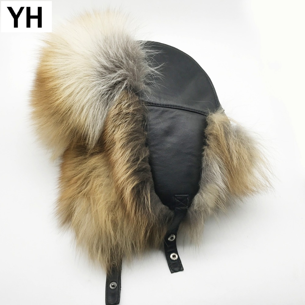 Hat Cap Bomber-Caps Fox-Fur Russia Winter Real-Leather Genuine New Warm Men Soft Casual
