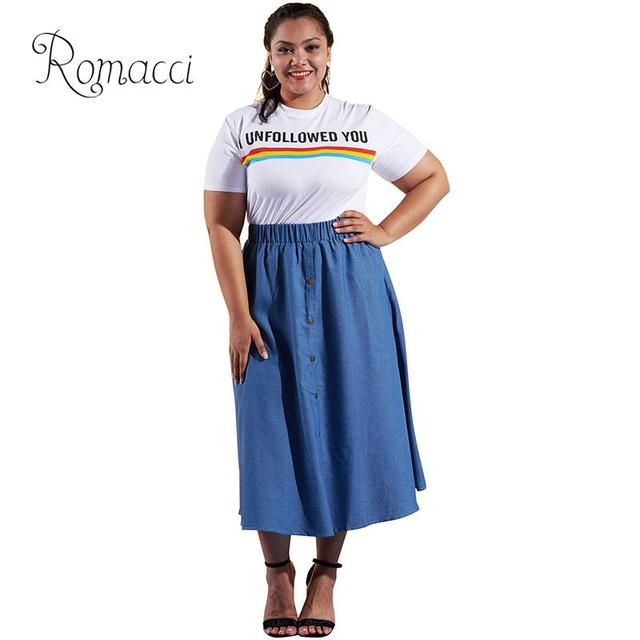 Romacci Women XXXL Plus Size Denim Skirt Pure Color Elastic High Waist Blue Jeans  Skirts Buttons A-Line Maxi Casual Street Wear 29b72789f207