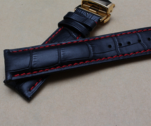 New arrival Black Cowhide Leather Watchband strap 20mm 22mm with red thread Watch Accessories rosegold buckle