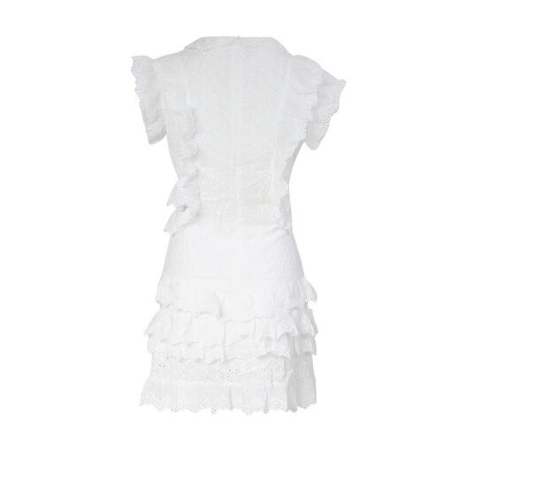 Openwork fungus lace sexy dew white dress tide brand solid color waist strap holiday female 2019 summer new unique design