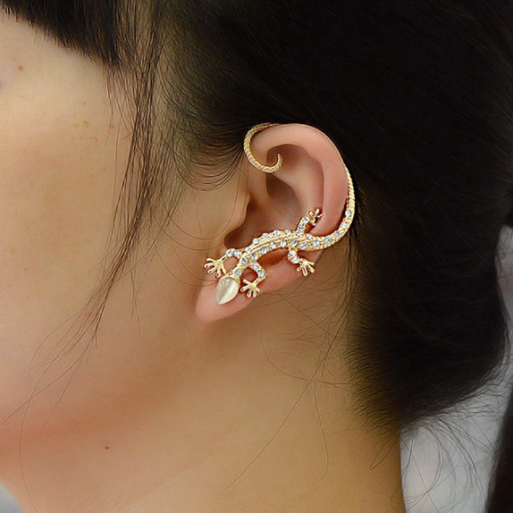 Gothic Punk Metal Crystal Lizard Cuff Clip Stud Personality Exaggerated Animal Opal Geckos Earrings for Women Men 农夫 山泉