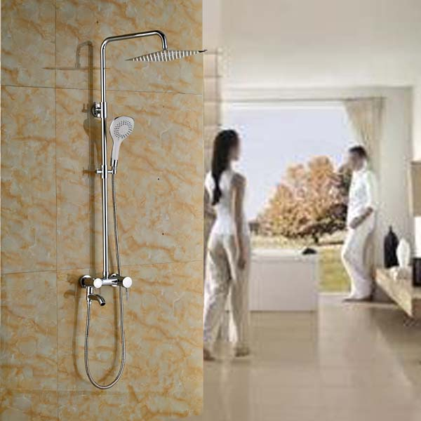 Luxury Brass Chrome 8 Rain Showerhead Bath Shower Faucet Wall Mount with Handheld Shower bathroom chrome shower faucet set with thermostatic mixer valve wall mount 8 ultrathin rain showerhead handshower