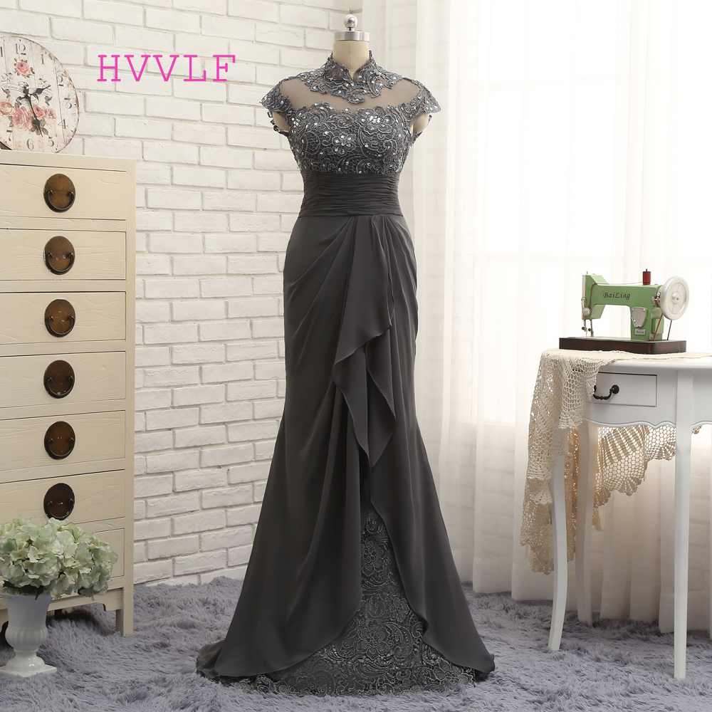 Open Back 2019 Mother Of The Bride Dresses Mermaid Cap Sleeves Gray Lace Beaded Long Evening Dresses Mother Dresses For Wedding