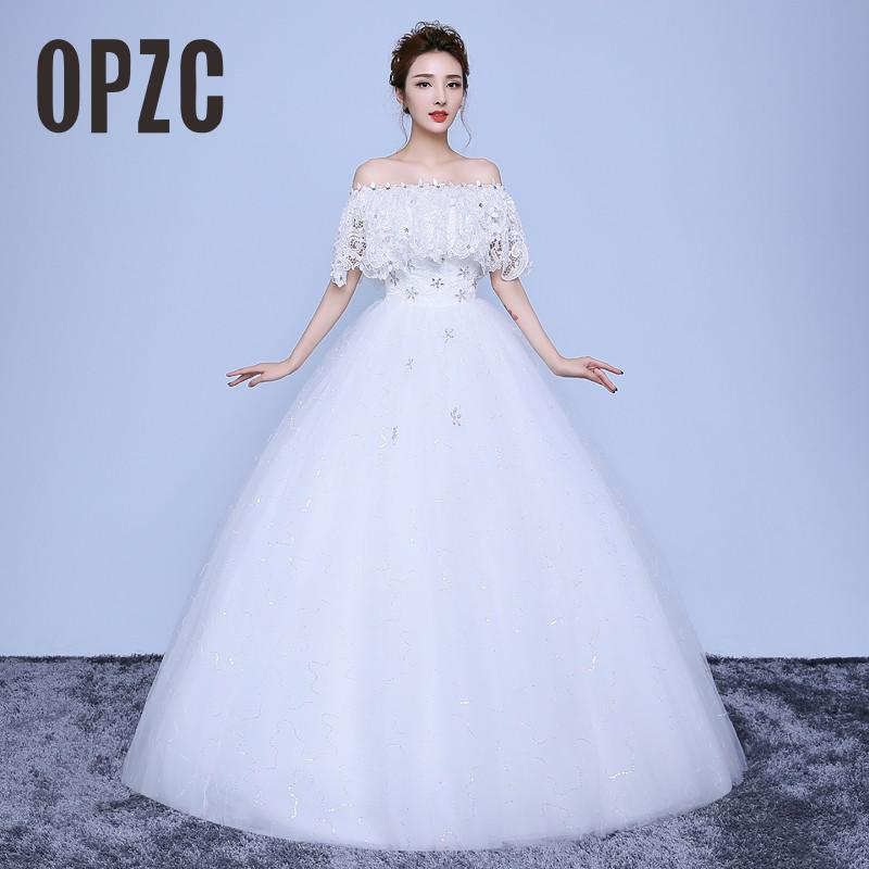 Autumn New Arrivl 2017 Boat Neck White and Red Wedding Dresses Sleeves Wedding Frocks Bride Ball