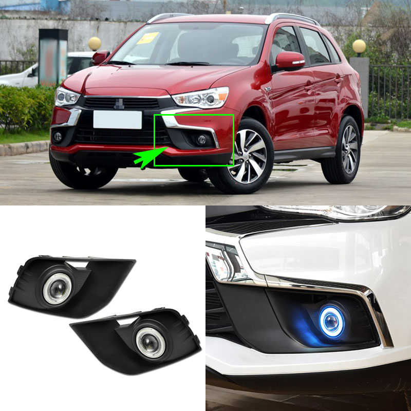 Ownsun COB Angel Eye Rings Projector Lens Halogen Lamp Source Black Fog Lights Bumper Cover For Mitsubishi ASX 2016-2017 ownsun innovative chrome super cob fog light angel eye bumper cover for mitsubishi asx